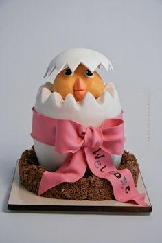 hatching egg baby shower cake