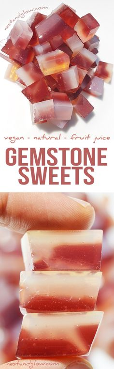 Gemstone Fruit Juice Jelly Sweets Recipe - Vegan and Natural Fruit Jelly Candy Recipe, Jelly Recipes, Sweets Recipes, Candy Recipes, Sugar Free Baking, Sugar Free Diet, Raw Vegan Recipes, Vegan Foods, Vegan Desserts