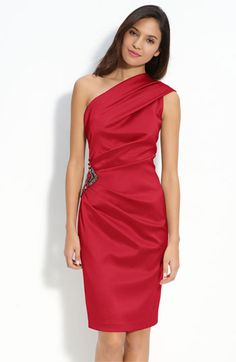 $148, Beaded One Shoulder Satin Dress Red 10 by Eliza J. Sold by Nordstrom. Click for more info: http://lookastic.com/women/shop_items/108423/redirect
