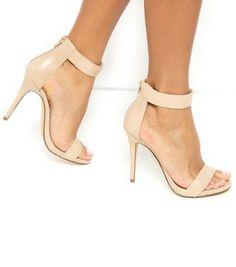 Stone Leather Ankle Strap Platform Heels