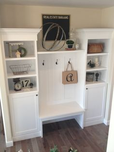 """Built ins, including closed cabinets that act as the kids """"lockers""""...perfect place to hide the backpacks, gym bags, and instruments!"""