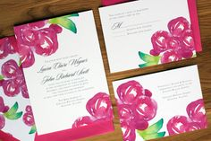 pink peony invitations The Charm Studio