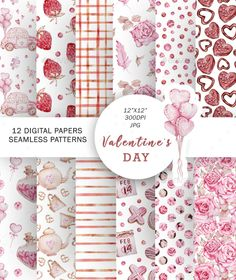 Watercolor Valentines Seamless Pattern by SvetaArtStore | GraphicRiver Pink Heart Background, Valentines Day Background, Valentines Sweets, Valentine Heart, Background Images Wallpapers, Seamless Background, Watercolor Pattern, Love Symbols, Planner Stickers