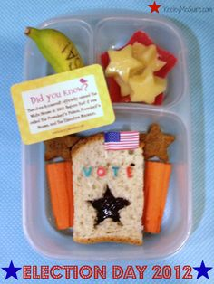 Lunch Made Easy: {Go Vote!} Election Day 2012 {Allergy Friendly} School Lunch Box Ideas for Kids Easy School Lunches, Kids Lunch For School, Healthy Lunches For Kids, Healthy Groceries, Fun Snacks For Kids, Kids Meals, Healthy Snacks, Box Lunches, Lunch Boxes