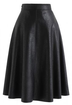 Everyday Basic Faux Leather Midi Skirt in Black - Retro, Indie and Unique Fashion Unique Fashion, Fashion Ideas, Dark Green Skirt, Leather A Line Skirt, Botas Sexy, Faux Leather Fabric, Leather Material, Tumblr Fashion, Mode Hijab