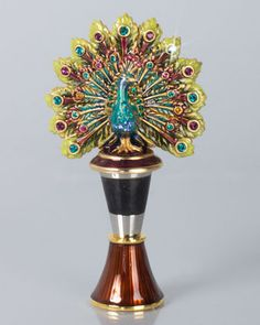 Hayden+Peacock+Wine+Stopper+with+Holder+by+Jay+Strongwater+at+Neiman+Marcus.