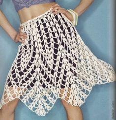 #445 Falda de puntas a Crochet o Ganchillo