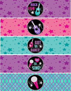 RockStar Party Printable Water Bottle Bottle Labels by PartyPops Karaoke Party, Music Party, Bottle Labels, Bottle Bottle, Water Bottle, Rockstar Party, Star Banner, Disco Party, Star Wars Party