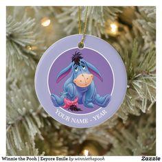 Winnie the Pooh   Eeyore Smile Ceramic Ornament Baby First Christmas Ornament, Baby Ornaments, Babies First Christmas, Christmas Cards, Christmas Decorations, Disney Winnie The Pooh, Eeyore, Merry, Smile
