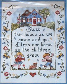 Bucilla FAMILY SAMPLER Bless This House - Stamped Cross Stitch Pattern Chart Kit