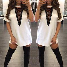 4 Colors 2017 Summer Women T Shirt Mini Tie-up Dress Black White Bodycon Sexy Club Tshirt Tops Tee Plus Size Vestidos de festa