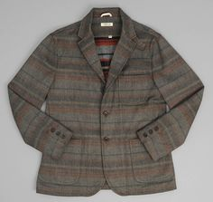 The Hill side 43/40/17 wool/cotton/polyester JK1-203 - WOOL BLEND BLANKET STRIPE TAILORED JACKET, GREY / NAVY / RUST :: HICKOREE'S
