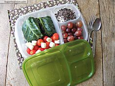 Healthy Collard Green Burrito Meal-To-Go (snacks: grape tomatoes with string cheese; grapes; Greek yogurt & cacao nibs)