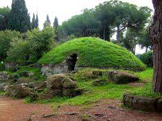 Etruscan tumulus tomb, Necropoli della Banditacci, Cerveteri (It's a tomb but great inspiration for a pretty building)