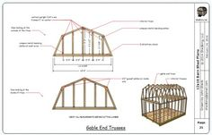 Sample page from the 12x16 barn plans showing the construction of the gable end trusses.