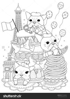 Blank Bulldogs With French Pastry And Buildings For Coloration