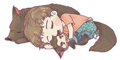 """""""Commissioned work for mellsmells! Have a tiny Stiles with plush!Derek cuddling on your dash. Thanks for commissioning me! <3"""""""
