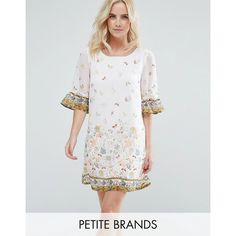 Yumi Petite Swing Dress In Border Print With Frill Sleeves ($44) ❤ liked on Polyvore featuring dresses, white, floral print dress, petite white dresses, chiffon dresses, trapeze dress and white floral dress
