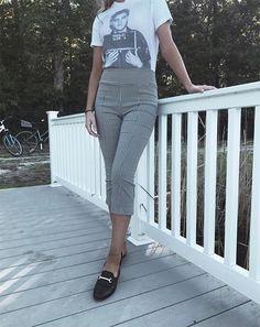 howtowearginghampants15 Plaid And Leopard, Gingham Pants, Pattern Mixing, Pants Outfit, Preppy, Capri Pants, Stripes, Shirt Dress, Jeans