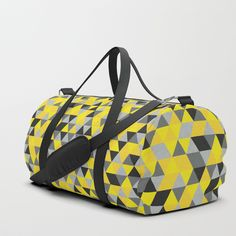 Sunny Yellow and Grey / Gray - Hipster Geometric Triangle Pattern Duffle Bag by pelaxy Duffle Bag Travel, Travel Bags, Duffle Bags, Bags Game, Triangle Pattern, Sunnies, Gym Bag, Print Design, Shoulder Strap