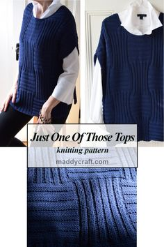 A maddy laine knitting pattern for a women's topper to wear alone or layer - this simple style will slip over anything. The topper is knit in two pieces (both alike) and joined at the shoulder and side seams. Fall Knitting, Knitting Stitches, Casual Tops For Women, Knitting For Beginners, Top Pattern, Knitting Projects, Knit Cardigan, Knitting Patterns, Knit Crochet