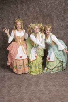 Costume Rental  Silly Girls  green, blue, orange pattern skirts, bodices w/attached overskirt, blouses