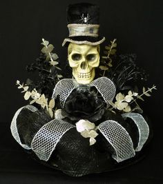 Halloween Table Centerpiece, Skull Centerpiece, Poly Deco Mesh... sold, but would make a great hack