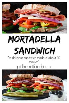 This easy Mortadella Sandwich recipe is piled high on toasty bread with arugula, juicy tomato, banana peppers, roasted pepper, cheese and thinly sliced red onion. Shake up your lunch routine with one epic, belly satisfying sandwich! #mortadellasandwich #bolognasandwich #italianmortadella #lunchrecipe #sandwichrecipe #italiansandwich #mortadellasandwich #sandwich #italiansandwich #lunchrecipe #easydinnerrecipe via @Girlheartfood