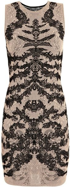 One of my first pins :) Such a cool dress had to repin on another board. Alexander McQueen Spine-lace Jacquard-knit Dress