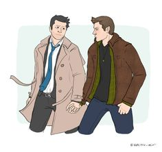 """electro-mint: """" 30 DAY OTP CHALLENGE: (Day Holding Hands) I can just imagine Cas is having the time of his life, and Dean's all like my GOD cas let go i don't want to hold your hand in front of all. Supernatural Drawings, Supernatural Fan Art, Decimo Doctor, Destiel Fanart, Comic Style Art, Dean And Castiel, Great Love Stories, Cute Gay, Superwholock"""