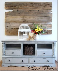 {Dresser turned TV Console} before & after - Diy Furniture Bedroom Do It Yourself Furniture, My Furniture, Refurbished Furniture, Do It Yourself Home, Repurposed Furniture, Furniture Projects, Furniture Making, Furniture Makeover, Home Projects