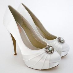 Platforms with a vintage charm. Designed by Pink by Paradox London, Carmel Dyeable Wedding Shoes $90