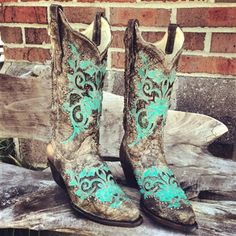Turquoise Studded Boots from Southern Fried Chics. Shop more products from Southern Fried Chics on Wanelo. Country Boots, Country Outfits, Cowgirl Boots, Western Boots, Western Style, Western Wear, Westerns, Over Boots, Wedding Boots