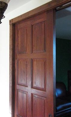 5 panel knotty alder flat panel mission shaker solid core for Pocket door ideas