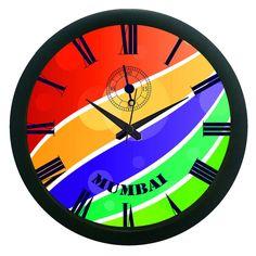 Mumbai Colorful Wall Clock (With Glass)