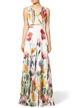 V-neck Sleeveless Flower Print A-line Long Evening Gown Dress
