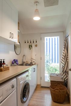 House Nerd's laundry room renovation is finally complete – featuring our lovely Alana pendent to help brighten this functional room. Modern Laundry Rooms, Laundry Room Layouts, Laundry Room Remodel, Laundry Room Organization, Laundry Decor, Laundry Room Design, Laundry In Bathroom, Laundry Closet, Small Utility Room