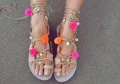 Pom Pom Sandals Lace Up pompom Gladiator Sandals Greek by Maluhii