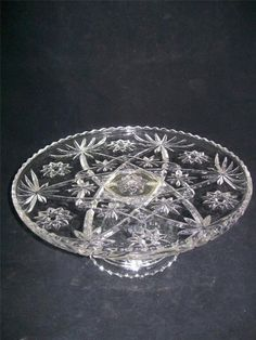 VTG 1960s Anchor Hocking Cryst Clear Early American Prescut Cake Plate Pedestal