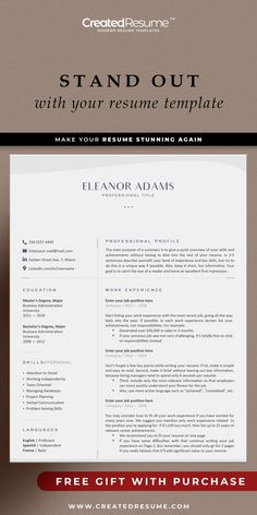 Elegant and professional resume template that will help to get the job of your dreams faster! Easy to customize on Word and Apple Pages. Designed by an experienced CreatedResume team these resume templates will catch an eye and help you outstand from the others. #resume #resumetemplate #modernresume #resumeformat #resumedesign #resumetips #createdresume #cv #cvtemplate Basic Resume, Professional Resume, Cv Design, Resume Design, Modern Resume Template, Resume Templates, Microsoft Word 2007, Good Resume Examples, Wish You The Best