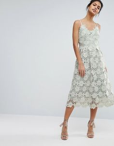 Little Mistress Premium Lace Cami Dress in mint at Asos #pastel