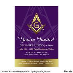 Masonic Invitations Freemason Tux Custom Invite Custom Masonic