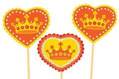 ~Cupcake toppers  Koningsdag om uit te printen~