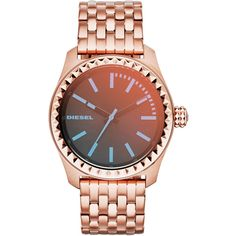 21350ebb186 Diesel Rose Gold-Tone   Blue Watch ( 95) ❤ liked on Polyvore featuring