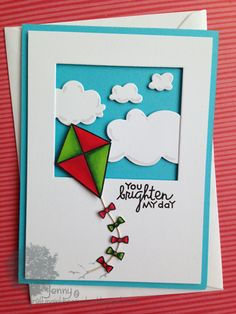 Card by SPARKS DT Jenny Mullens PS stamp sets: Sunny Side Up, We Totally Click; PS dies: Clouds, Quote Tag