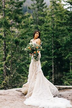 This bride wore inbal dror to her elopement in Vancouver with a stunning bridal bouquet featuring lots of greenery and foliage for an organic shape and pops of orange florals for some color. Wedding Bridesmaids, Wedding Bouquets, Cascading Bouquets, Wedding Dresses, Wedding Photography Inspiration, Wedding Inspiration, Hair Inspiration, Wedding Ideas, Wedding Venues