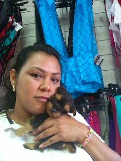 My mom with my mini Yorkshire terrier