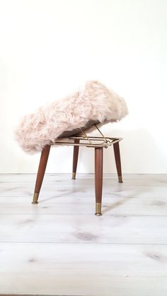 Mid Century Fur Foot Stool ~ Adjustable Ottoman/ Foot Stool / Hassock  This is a slice of mid century heaven!! Newly recovered seat in a warm,