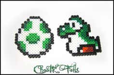 Baby Yoshi With Egg Mario Pixel Art Perler Bead by ChaotikFalls, $6.00