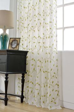 Sheer Curtains with Leaf Pattern | ... country embroidered leaves ...